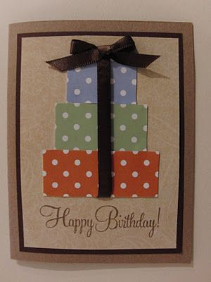 Could we make into sign to hang outside?? Another simple birthday card: ribbon, rectangles