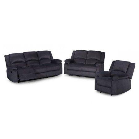 Us Pride Furniture Gus Contemporary 3 Piece Microfiber Fabric Reclining Sofa Set Dark Grey S6027 3pc Re 3 Piece Living Room Set Reclining Sofa Grey Sofa Set