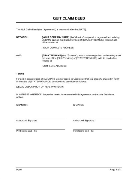 quit claim deed template amp sample form biztree notary letter - quit claim deed form