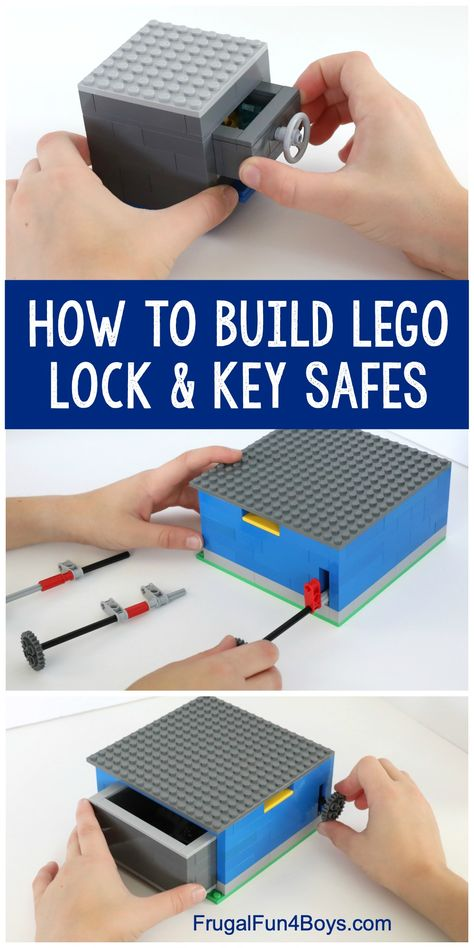 How to Build LEGO Safes with Lock & Key – Fun LEGO machine for kids to build! Th… How to Build LEGO Safes with Lock & Key – Fun LEGO machine for kids to build! The key really works to open the safe. Lego Duplo, Lego Toys, Lego Club, Legos, Projects For Kids, Crafts For Boys, Project Ideas, Lego Hacks, Lego Candy