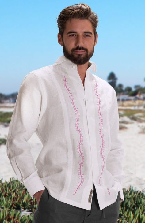 Canali- White with Pink Embroidery