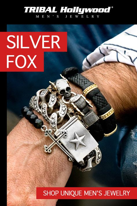 Shop the best selection of men's bracelets and jewelry at Tribal Hollywood. Choose from bead bracelets, black metal, and leather cuff bracelets for men. Mens Silver Jewelry, Men's Jewelry, Pandora Jewelry, Jewelry Stores, Cross Jewelry, Male Fashion Trends, Mens Fashion, Fashion Belts, Fashion Sandals