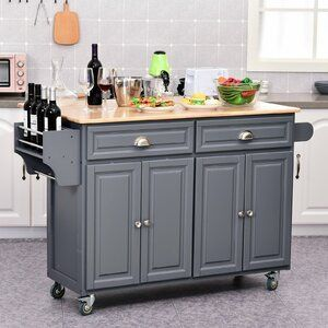 Rhianna Rolling Oak Wood Kitchen Island With Solid Wood Top Kitchen Island Cart Wood Kitchen Grey Kitchen Island