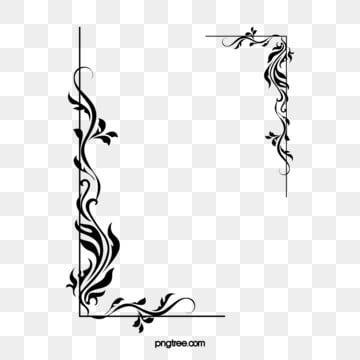 Black Menu Pattern Border Background Flower Line Drawings Simple Line Drawings Clip Art Borders