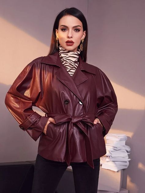 SHEIN Double Breasted Belted PU Leather Coat