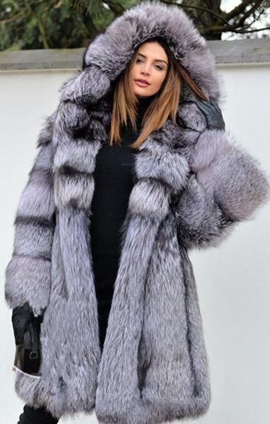 incredible prices outlet store sale first rate Silver Hooded Fox Fur Coat   Pretty stuff in 2019   Faux fur ...