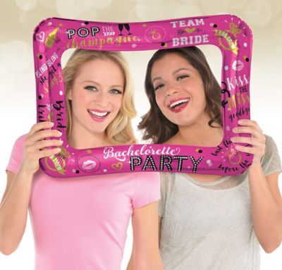 20 Props with Inflatable Frame PINK HEN PARTY SELFIE FRAME AND PHOTO PROPS SET