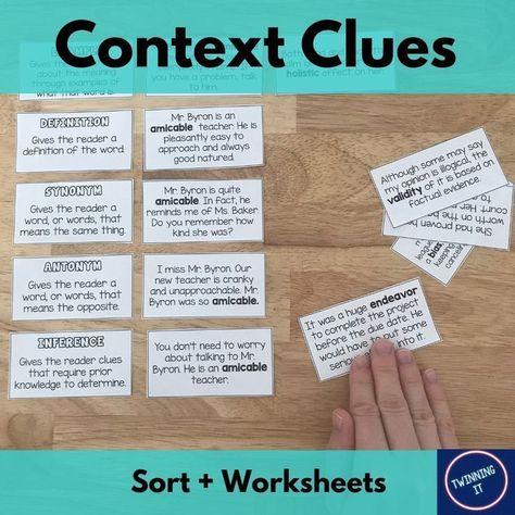 Context Clues Sort + Worksheets