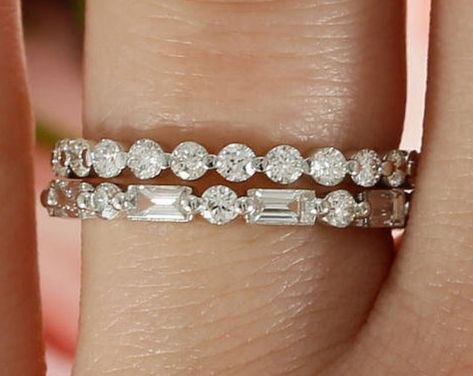 Diamond Band Stack Set of 2 Wedding Bands in White gold Ring Stack Three Quarter Stacking bands Wedding Ring Stack Baguette Band Unique Diamond Rings, Rose Gold Diamond Ring, Diamond Wedding Rings, Diamond Bands, Unique Rings, Beautiful Rings, Gold Ring, Stacked Wedding Bands, Curved Wedding Band