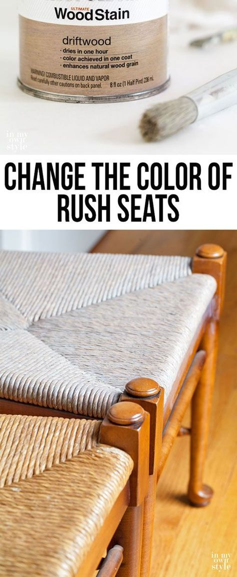 Chair makeover starting with changing the color of the rush seats to look more like a driftwood color. Once it is dry and sealed, I will paint the wood part of the chairs.    In My Own Style