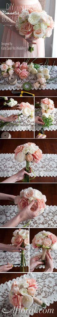 DIY Romantic Wedding Bouquet.  Make your own bouquets for the bride and bridesmaids with silk flowers from Afloral.com.  Follow the easy tutorial and find all the products you need at Afloral.com.