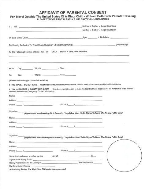 affidavit for parental consent form free download Home Design - affidavits template