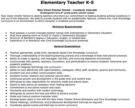 Elementary Teacher Job Description Elementary Teacher K-5 New - merchandiser job description