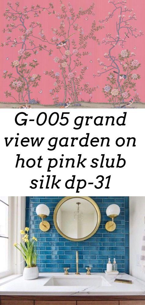 G-005 grand view garden on hot pink slub silk dp-31
