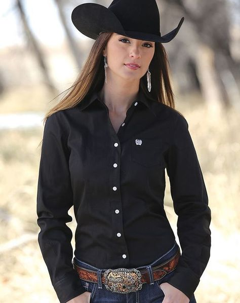 b896403027 Cinch Women s Long Sleeve Solid Button Down Shirt - Black en 2019 ...