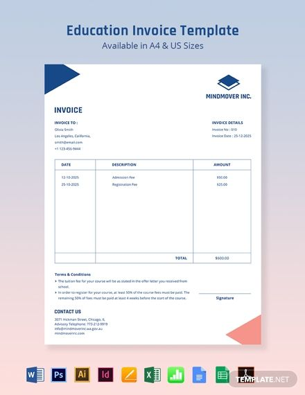 Blank Education Invoice Template Free Pdf Word Excel Psd Indesign Illustrator Publisher Apple Numbers Invoice Template Education Templates Receipt Template