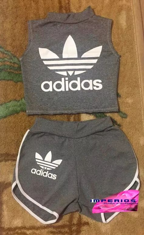 conjunto adidas shorts e cropped roupas feminina suplex
