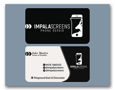 Check Out New Work On My Behance Portfolio Impalascreens Phone Repair Business Card Design Http Be Net G Phone Repair Card Design Business Card Design