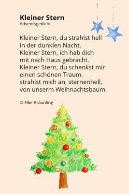Kindergarten Weihnachten.Kleiner Stern Klitzekleines Sternengedicht Schule Gedicht
