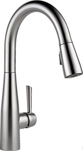 Delta Essa Single Handle Pull Down Sprayer Kitchen Faucet With Magnatite Docking In Arctic Stainless 9113 Ar Dst The Home Depot Delta Kitchen Faucet Best Kitchen Faucets Delta Faucets
