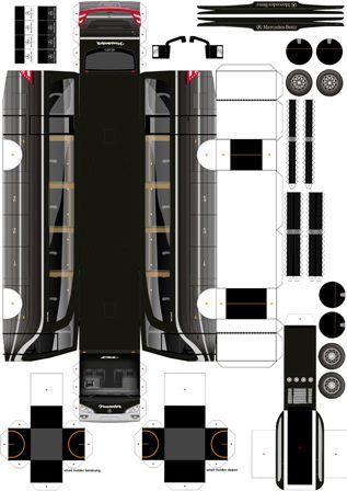 Pola Papercraft Bus Indonesia Dengan Gambar Pola Papercraft