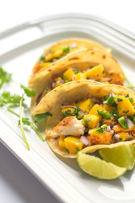 Fish Tacos with Mango Salsa - a fresh and fast seafood recipe