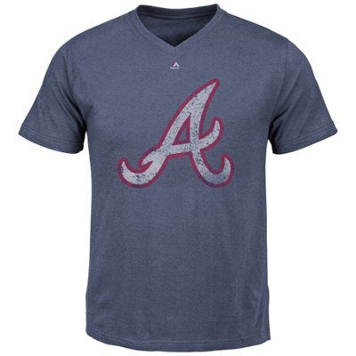 Majestic Atlanta Braves Winning Hit V-Neck T-Shirt - Navy Blue