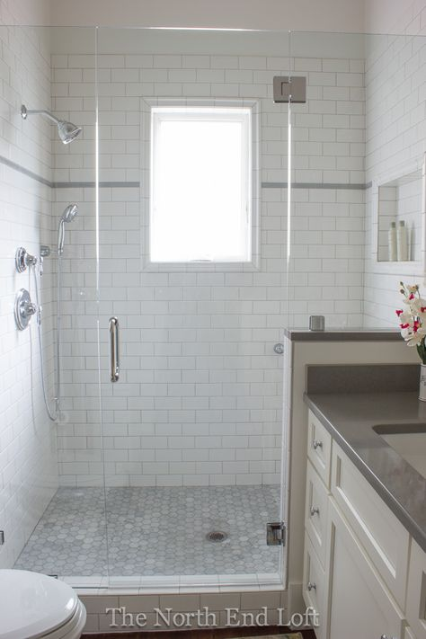 White subway tile, gray grout, glass block window. | 27th St Philly |  Pinterest | Glass block windows, Grey grout and White subway tiles