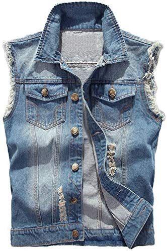 Women Denim Ripped Waistcoat Slim Fit Vest Sleeveless Jean Jacket Coat Outerwear