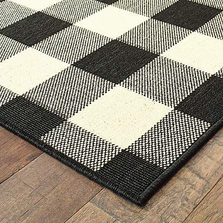 Black And White Buffalo Check Area Rug 9x13 Kirklands Indoor Outdoor Area Rugs Patio Rugs Area Rugs
