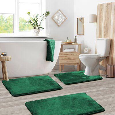 The Twillery Co Blum Non Slip 3 Piece Bath Rug Set Green Bathroom Decor Rugs And Mats