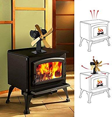 4 Blade Heat Powered Stove Fan For Wood Log Burner Fireplace Eco