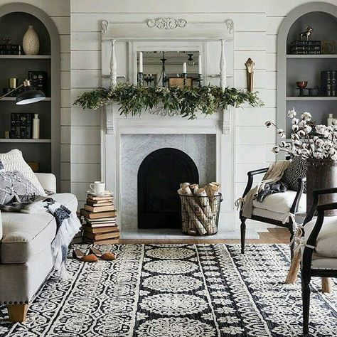 #shiplap wall and textured #rug really sets of this space. #nwdesigner…