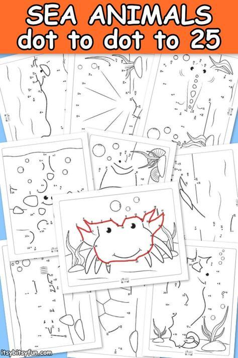 Ocean Animals Dot To Dot Worksheets Itsybitsyfun Com Sea Animals Preschool Ocean Animals Preschool Ocean Animals