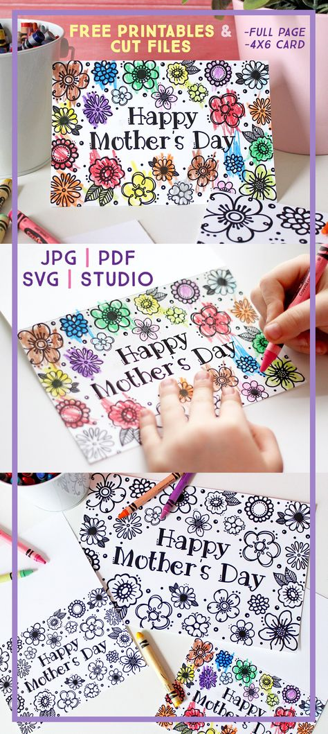 Free Printable Mother's Day Coloring Page  Card (Cut Files Too!) | Where The Smiles Have Been #MothersDay #freeprintable #freecutfile #coloringpage #MothersDayCard #Silhouette #Cricut