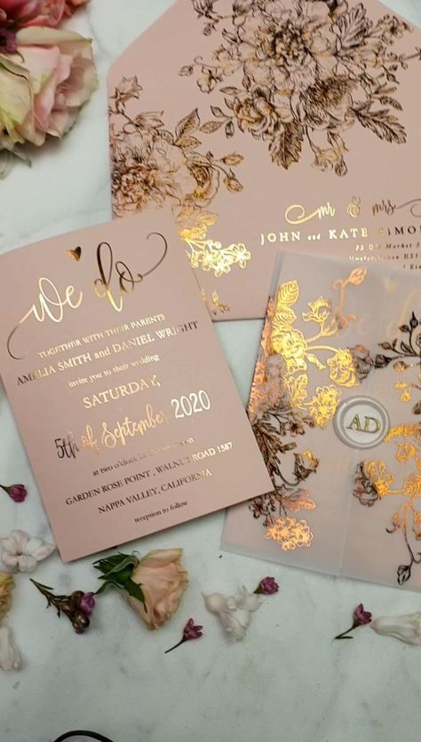 Personalized wedding invitation suite to match your gold glitter theme style and budget! We do Rose Gold wedding Invitation suite with Vellum wraping paper and Was seal
