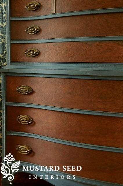 paint and wood stained dresser: I would probably just remove the drawers and leave them original and paint the base in chalk paint! :)