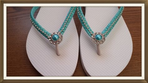 7046356dfba65 Aqua blue Wedding Flip Flops embellished sandals