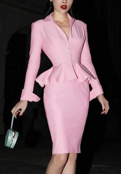 Pink Buttons Slit Peplum Formal V-neck Two Piece Bodycon Sweet Midi Dress - rosechoic