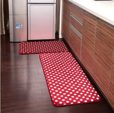 Ustide 2 Piece Red Polka Dots Kitchen Rug Set Kitchen Memory Foam Rug Soft Rug Coral Fleece Door Matbathroom Rug Sets Floor Kitchen Rug Rug Sets Interior Rugs