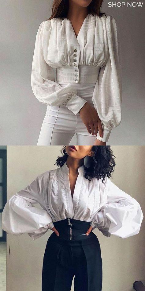 Women's Fashion Simple White Blouse -  2020 fashion trends - #2020fashiontrends #Blouse #fashion #Simple #trends #White #Womens