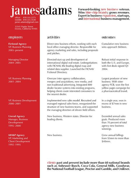 This excellent resume design uses the principles of contrast, repetition, alignment, and proximity to visually organize information, and get your attention.