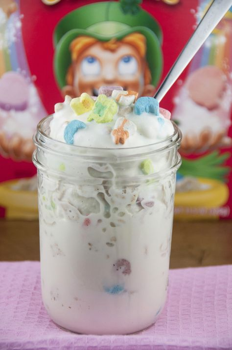 This is a recipe for quick and easy Lucky Charms Blizzards that creates thick, creamy and delicious ice cream treats! Kids will love these.
