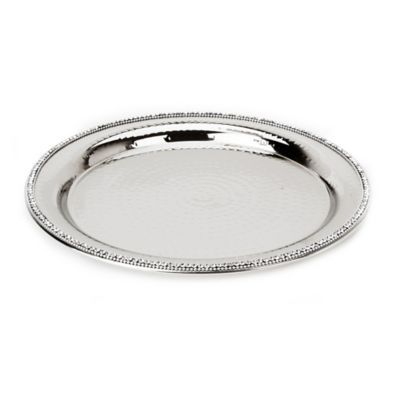 Classic Touch Hammered Stainless Steel Round Platter Stainless Platters Stainless Steel