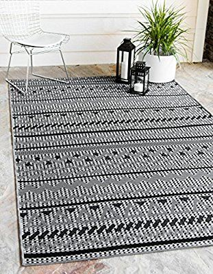 Amazon Com Unique Loom Hamptons Collection Modern Indoor And Outdoor Transitional Gray Home Decor Area Rug 7 X 10 Unique Loom Outdoor Area Rugs Modern Rugs