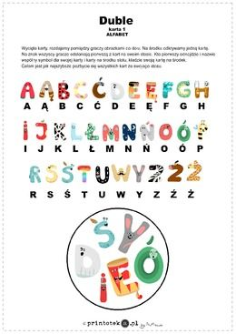 Alfabetyczne Duble Polski Alfabet Zestaw Kart Do Gry Typu