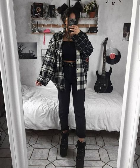 Indie Outfits, Teen Fashion Outfits, Cute Casual Outfits, Retro Outfits, Look Fashion, Vintage Outfits, Girl Outfits, Fashion Women, Rock Style Fashion