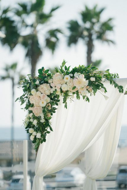 Ceremony Arch Flowers And Draping Hyatt Huntington Beach Orange