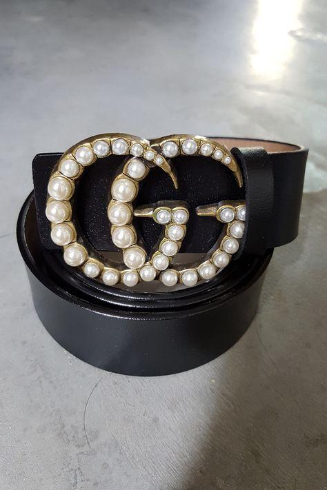 l'atteggiamento migliore 126d1 57d28 Gucci - cintura in pelle e doppie G con perle, 495 ...