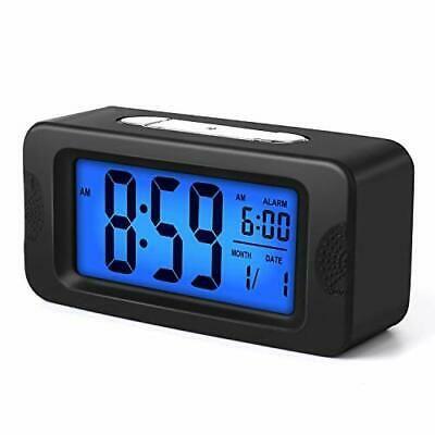 Details About Plumeet Digital Alarm Clock Light Up All Night 4 Lcd Display Black In 2020 Digital Alarm Clock Alarm Clock Bedside Clock